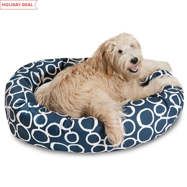 """Majestic Pet Fusion Navy Sherpa Bagel Dog Bed, 40"""" L x 29"""" W - Carousel image #1"""