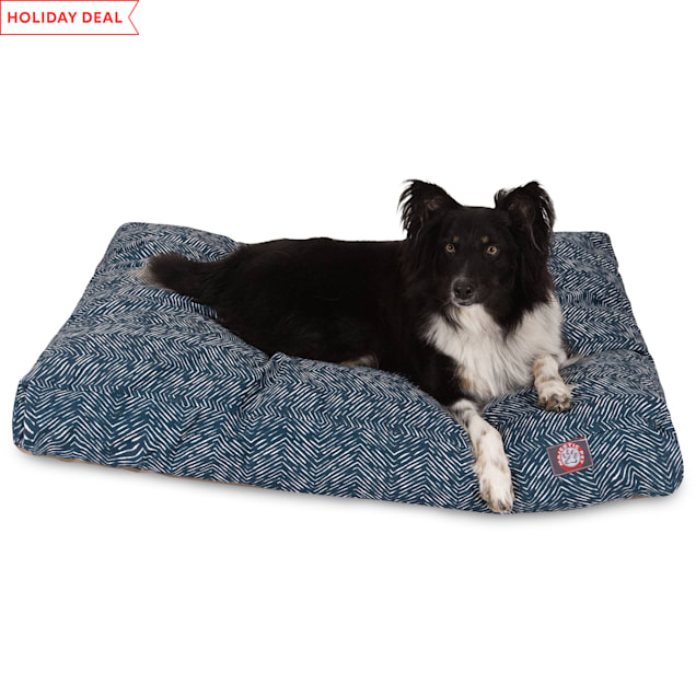 "Majestic Pet Navy Navajo Shredded Memory Foam Rectangle Dog Bed, 44"" L x 36"" W - Carousel image #1"