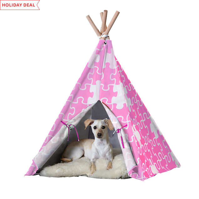 """Zoovilla Pet Teepee Pink Puzzle, 39.96""""L X 39.96""""W - Carousel image #1"""