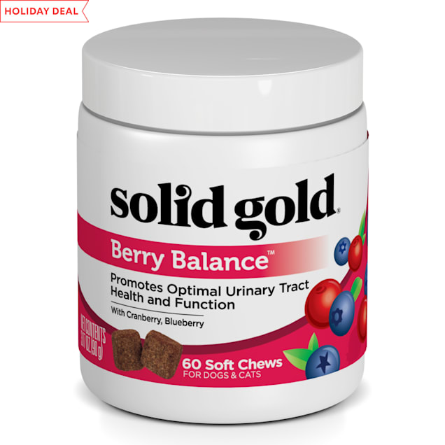 Solid Gold Berry Balance Supplement Chews for Urinary Tract Health With Cranberries & Blueberries for Dogs, 3.17 oz. - Carousel image #1