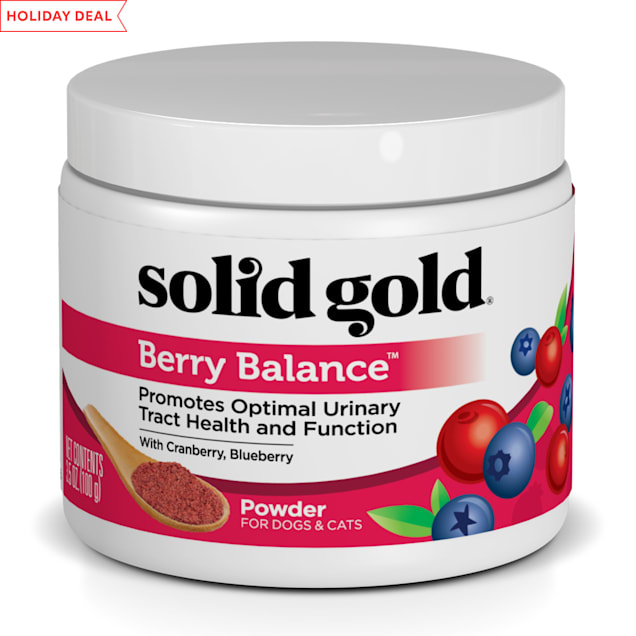 Solid Gold Berry Balance Supplement Powder for Urinary Tract Health With Cranberries & Blueberries for Dogs & Cats, 3.5 oz. - Carousel image #1