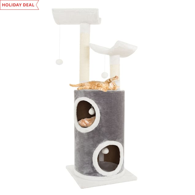 "PETMAKER 5 Level Cat Tree Double Decker Condo with 4 Toys and 2 Scratching Posts in Gray, 44.75"" H - Carousel image #1"