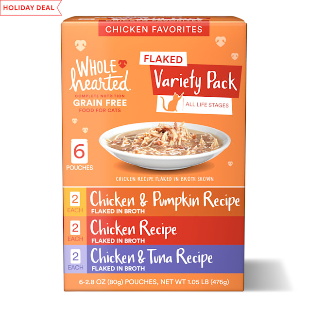 WholeHearted Grain Free Chicken Favorites Flaked Wet Cat Food Variety Pack for All Life Stages, 2.8 oz. 6 count - Carousel image #1