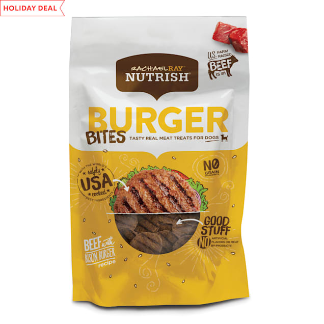 Rachael Ray Nutrish Burger Bites Grain Free Beef Burger with Bison Recipe Dog Treats, 12 oz. - Carousel image #1