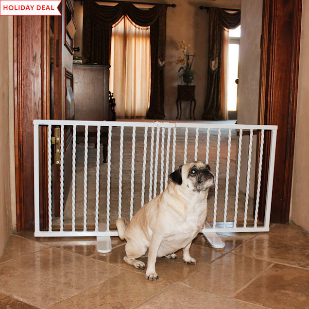 "Cardinal Gates Wrought Iron Step Over White Gate for Dogs, 41.25"" L X 2"" W X 20"" H - Carousel image #1"