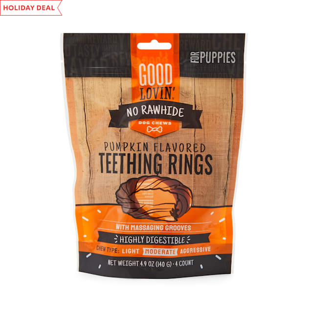 Good Lovin' No Rawhide Pumpkin Flavored Puppy Teething Rings, 4.9 oz., Count of 4 - Carousel image #1