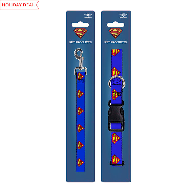 Buckle-Down Superman Blue Collar and Leash Set for Dogs, Small - Carousel image #1