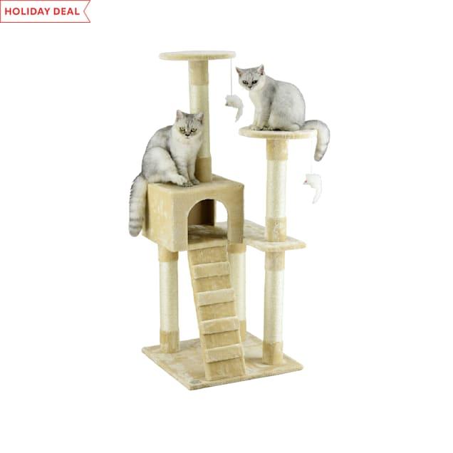 "Go Pet Club Beige 52"" Cat Tree Condo with Ladder - Carousel image #1"