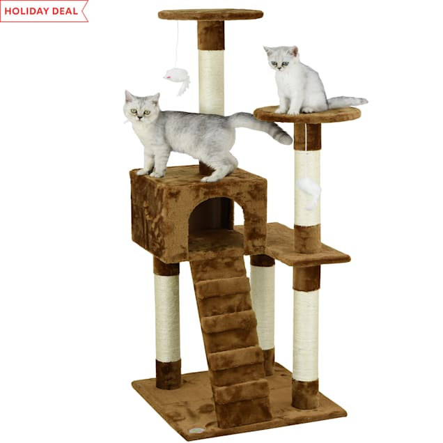 """Go Pet Club Brown 52"""" Cat Tree Condo with Ladder - Carousel image #1"""