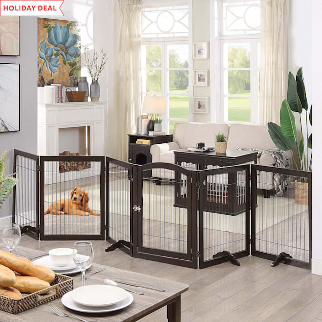 """UniPaws 6 Panels Pet Espresso Gate with Wood Frame and Wire bars, 24""""-144"""" W X 32"""" H - Carousel image #1"""