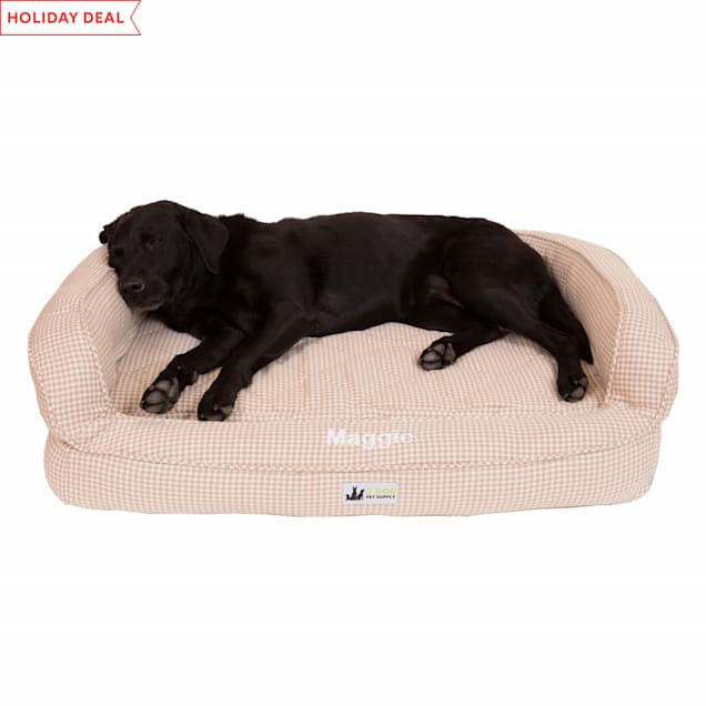 """3 Dog Personalized EZ Wash Premium Memory Foam Bolster Houndsth Dog Bed, 32"""" L X 21"""" W X 9"""" H - Carousel image #1"""