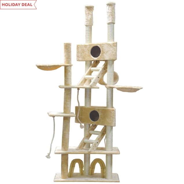 """Go Pet Club Cat Tree with Large Houses and Brushes, 106"""" H - Carousel image #1"""