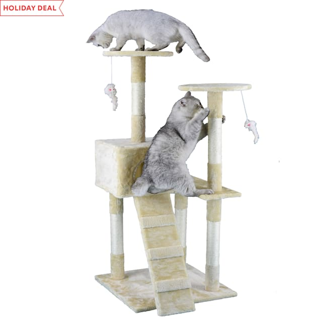 """Go Pet Club Economical Beige Cat Tree Condo with Sisal Covered Posts, 51.25"""" H - Carousel image #1"""