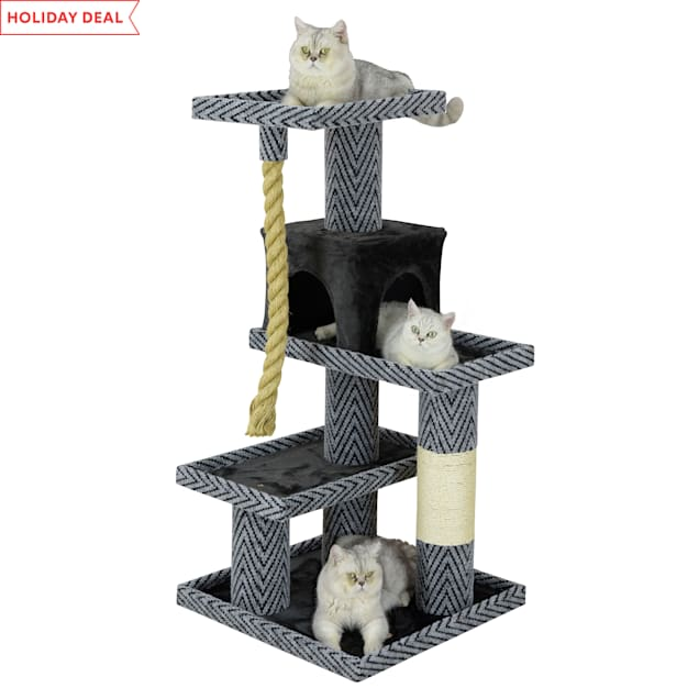 """Go Pet Club Sequoia Cat Tree Condo with Jungle Rope and Sisal Scratching Post, 49.5"""" H - Carousel image #1"""