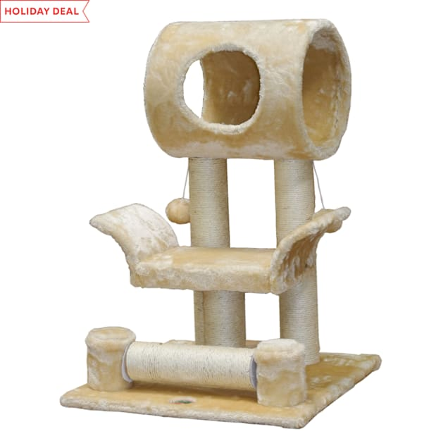 """Go Pet Club Beige Cat Tree Scratcher Condo with Sisal Covered, 28"""" H - Carousel image #1"""