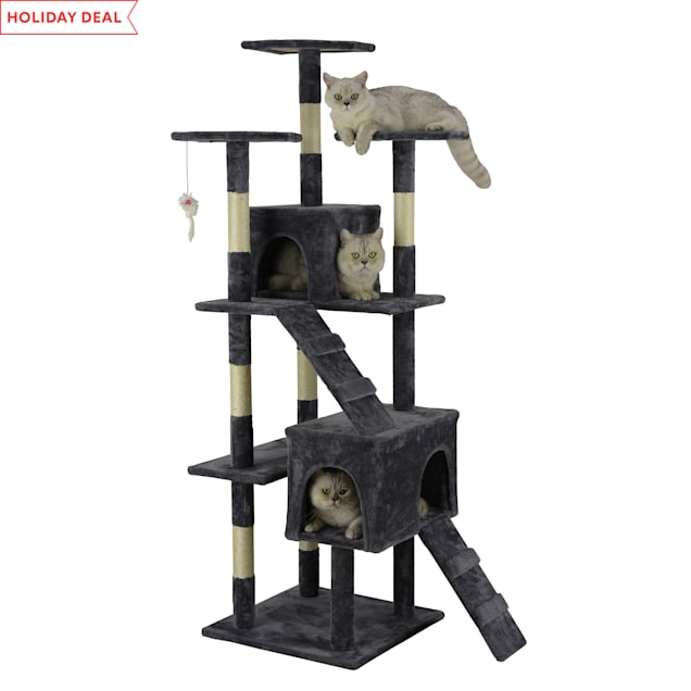 """Go Pet Club Economical Gray Cat Tree with Sisal Scratching Posts, 63"""" H - Carousel image #1"""