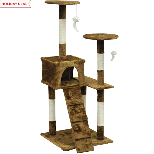 """Go Pet Club Economical Brown Cat Tree Condo with Sisal Covered Posts, 51.25"""" H - Carousel image #1"""