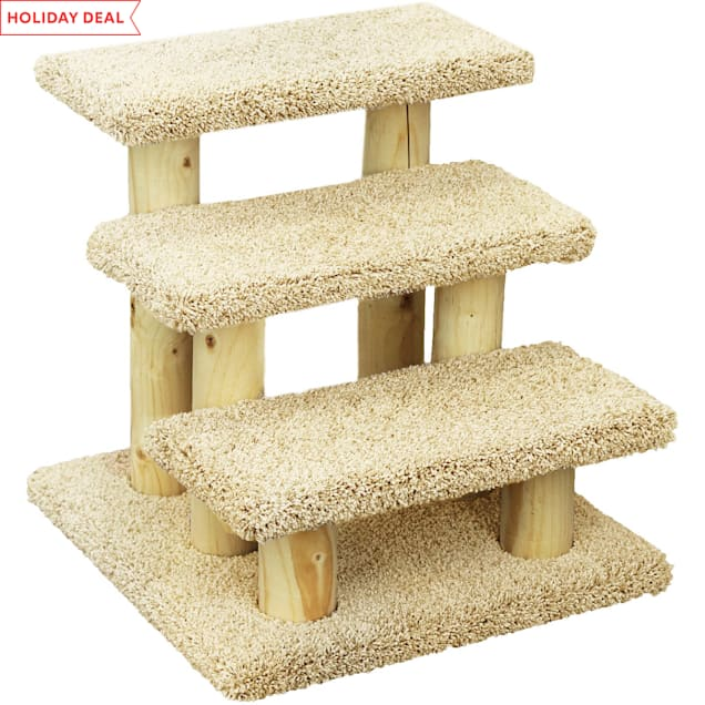 """New Cat Condos 3 Level Premier Tan Post Stairs, 20"""" H - Carousel image #1"""