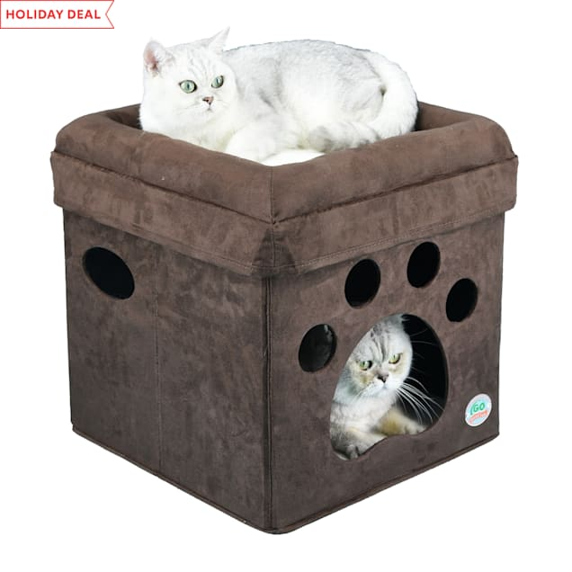 "Go Pet Club Brown Paw Print Comfy Cat Cube Bed, 16"" L X 16"" W X 16.5"" H - Carousel image #1"