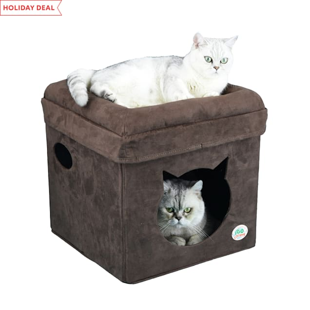 """Go Pet Club Brown Cat Face Comfy Cube Bed, 16"""" L X 16"""" W X 16.5"""" H - Carousel image #1"""