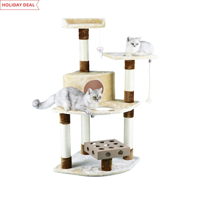 "Go Pet Club IQ Busy Box Cat Tree Condo with Sisal Covered Scratching Posts SF056, 48"" H - Carousel image #1"