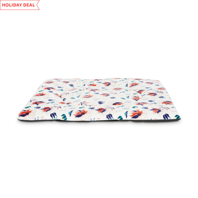 "EveryYay Snooze Fest White Floral Square Lounger Cat Mat, 18"" L X 18"" W X 0.75"" H - Carousel image #1"