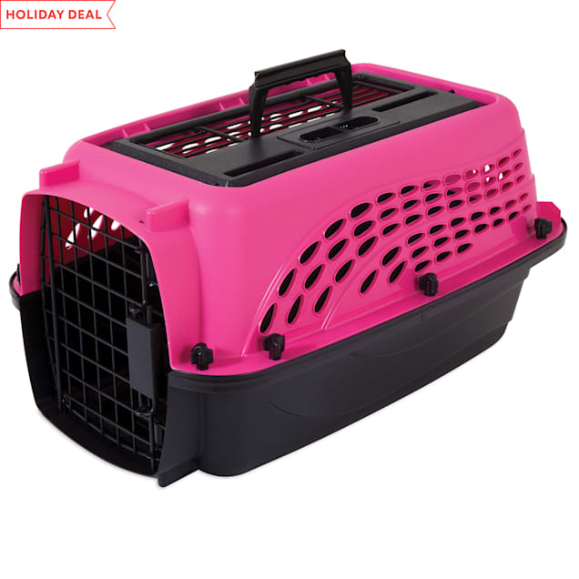 """Petmate Pink 2 Door Top Load Dog Kennel, 19.4"""" L X 12.8"""" W X 10"""" H - Carousel image #1"""