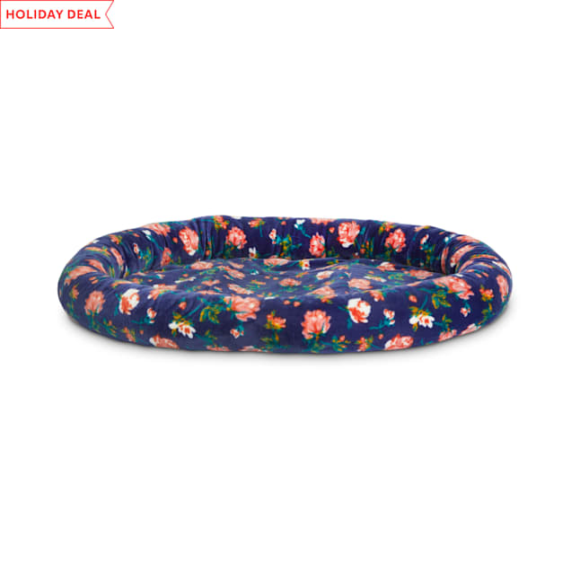 """EveryYay Snooze Fest Navy Floral Oval Lounger Cat Bed, 17"""" L X 14"""" W X 2"""" H - Carousel image #1"""
