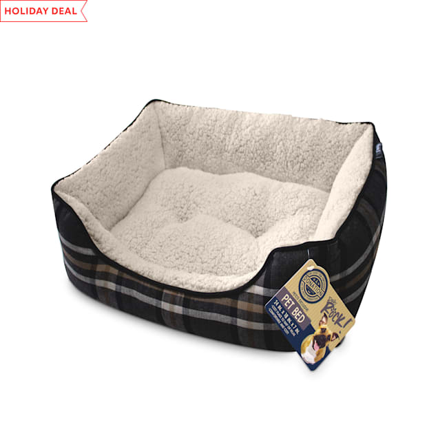 "Dogs Rock Black Plaid Cuddle Pet Bed, 24"" L X 18"" W X 6"" H - Carousel image #1"