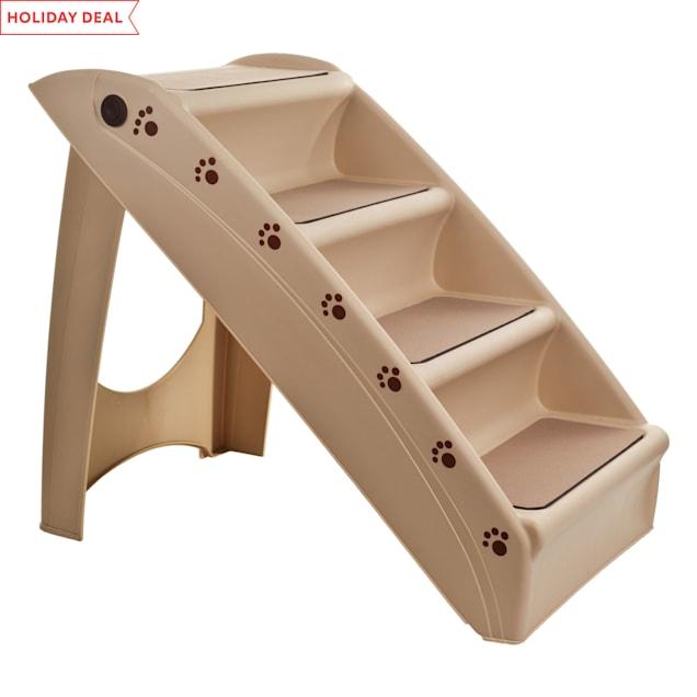 "PETMAKER Folding Plastic Tan Pet Stairs, 22.63"" L X 15.25"" W X 19.63"" H - Carousel image #1"