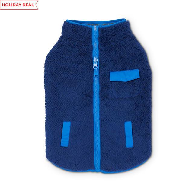Good2Go Blue & Plaid Reversible Riding Dog Jacket, X-Small - Carousel image #1