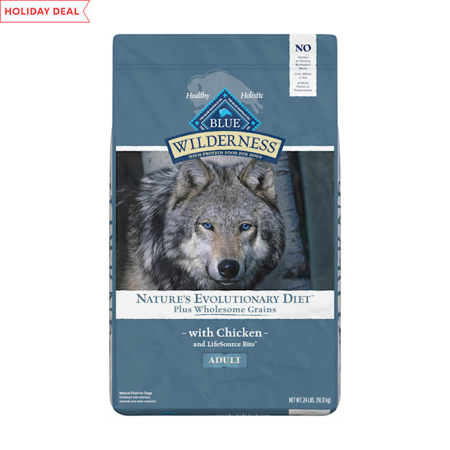 Blue Buffalo Blue Wilderness plus Wholesome Grains High Protein Natural Adult Chicken Dry Dog Food, 24 lbs. - Carousel image #1