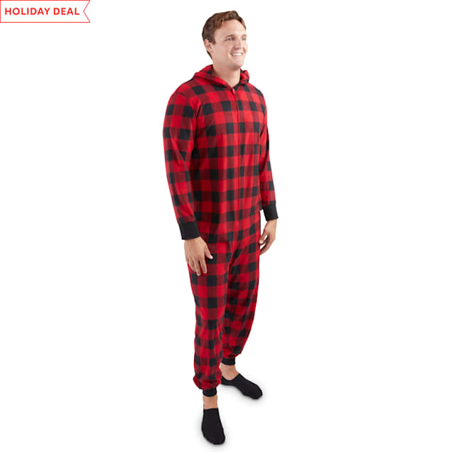 Holiday Tails Winter Vacation Red Buffalo Check Match-Your-Pet Adult Pajamas, Small/Medium - Carousel image #1