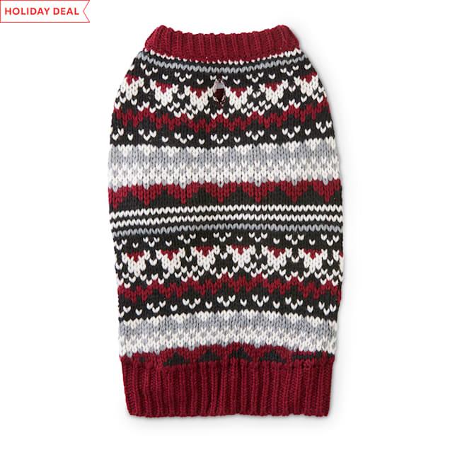 Holiday Tails A Wonderful Winter Burgundy Fair Isle Dog Sweater, X-Small - Carousel image #1