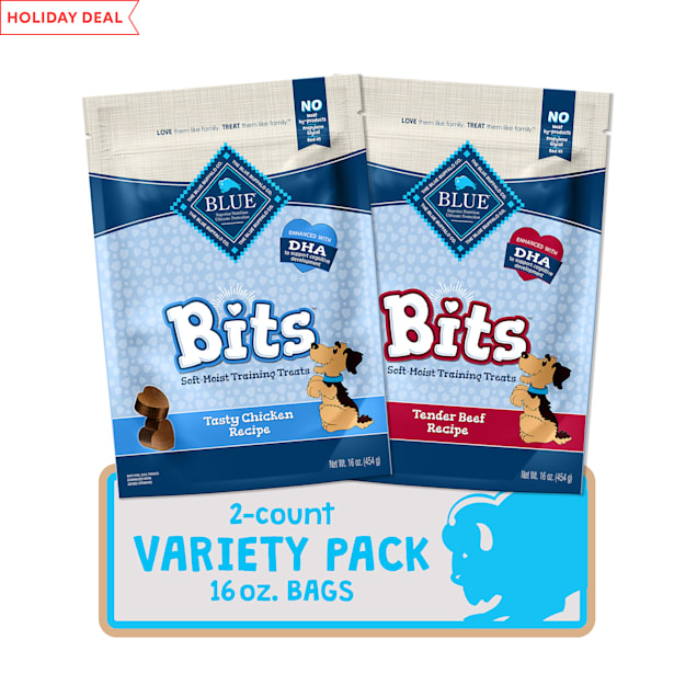 Blue Buffalo Blue Bits Natural Chicken & Beef Recipes Soft-Moist Training Dog Treats Variety Pack, 16 oz., Count of 2 - Carousel image #1