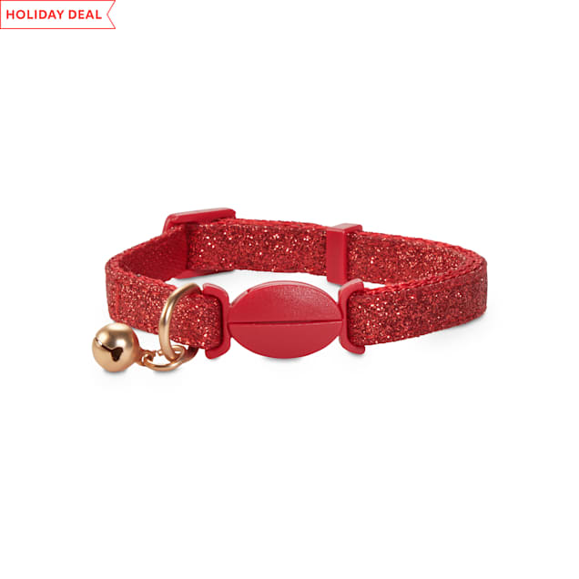 Holiday Tails Season's Greetings Red Glitter Breakaway Cat Collar with Removable Bell - Carousel image #1