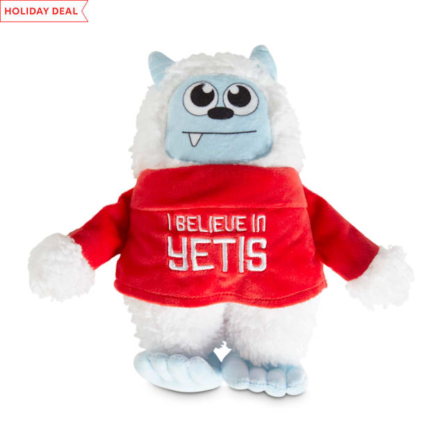 Holiday Tails I Believe In Yetis Plush Dog Toy with Squeaker, Large - Carousel image #1