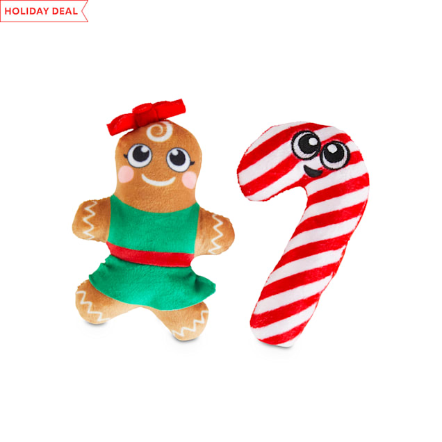 Holiday Tails Gingerbread Tales Plush Dog Toys with Squeakers, Small, Pack of 2 - Carousel image #1