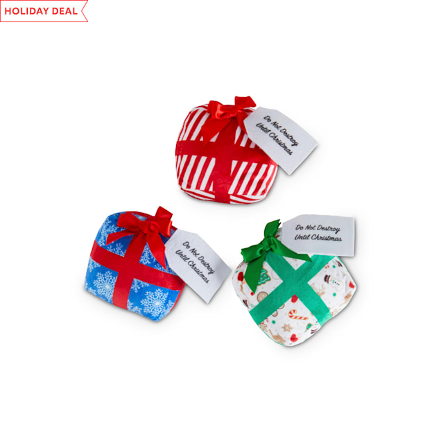 Holiday Tails Christmas Classics Plush Dog Toy with Surprise Inside in Various Styles, Small - Carousel image #1