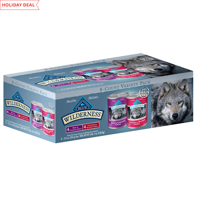 Blue Buffalo Blue Wilderness Grain Free Beef & Chicken, Chicken & Salmon Grill Variety Pack Wet Dog Food, 12.5 oz., Count of 8 - Carousel image #1