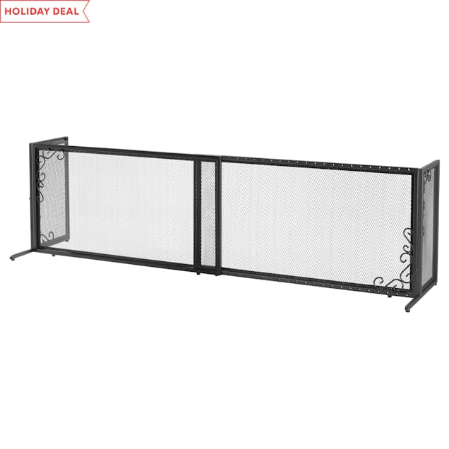 "Richell Freestanding Black Metal Mesh Pet Gate, 71"" L X 18"" W X 20"" H - Carousel image #1"