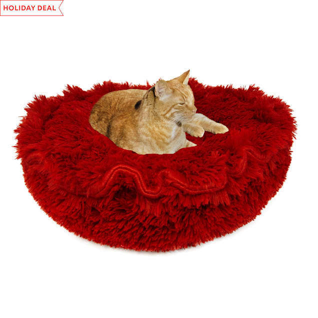 """Bessie and Barnie Ultra Plush Lipstick Luxury Deluxe Pet Lily Pod Bed, 24"""" L X 24"""" W - Carousel image #1"""