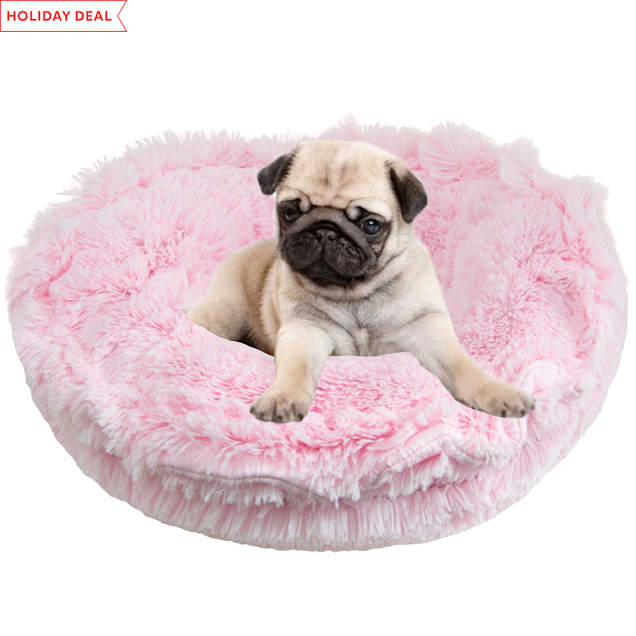 """Bessie and Barnie Ultra Plush Bubble Gum/Snow White Luxury Deluxe Pet Lily Pod Bed, 24"""" L X 24"""" W - Carousel image #1"""