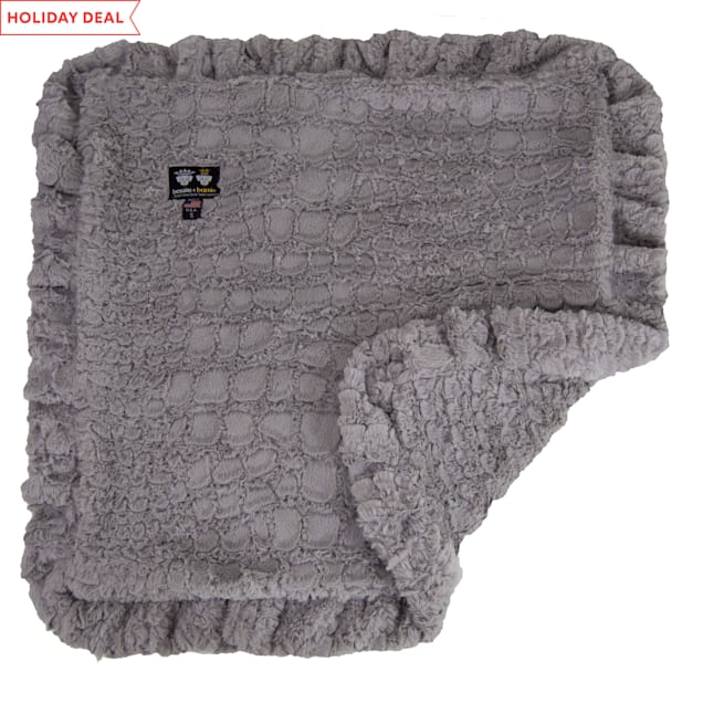 """Bessie and Barnie Serenity Grey Ultra Plush Faux Fur Super Soft Reversible Pet Blanket, 20"""" L X 20"""" W - Carousel image #1"""