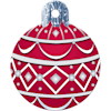 """Quick-Tag Large Red Ornament Personalized Engraved Pet ID Tag, 1 1/4"""" W X 1 1/2"""" H - Thumbnail-1"""