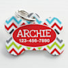 Custom Personalization Solutions Personalized Pet Tag Chevron Red - Thumbnail-1