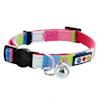 Pawtitas Multicolor Pink Teal White Green Safety Buckle Removable Bell Cat Collar - Thumbnail-3