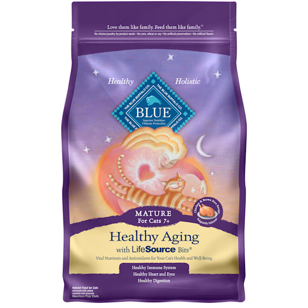 Blue Buffalo Blue Healthy Aging Mature Chicken & Brown Rice Recipe Dry Cat Food, 3 lbs. - Carousel image #1