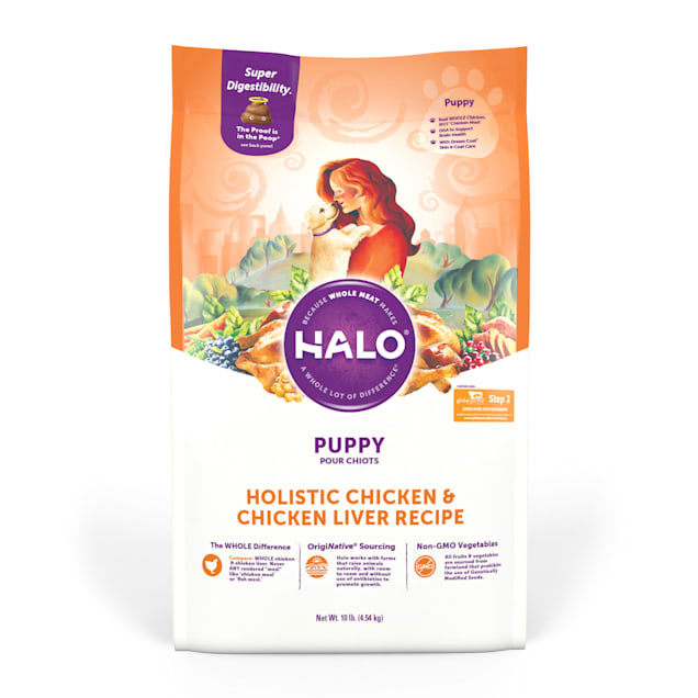 Halo Puppy Holistic Chicken & Chicken Liver Recipe Dry Food, 10 lbs. - Carousel image #1