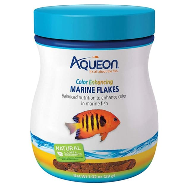 Aqueon Color Enhancing Marine Flakes Fish Food, 1.02 oz. - Carousel image #1